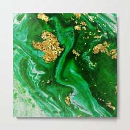 Neon Green and Gold Acrylic Painting Metal Print