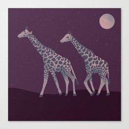 Giraffes Wandering at Night - Red Canvas Print