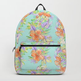 tropical hawaiian flowers aqua Backpack