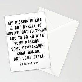 My mission in life is not merely to survive, but to thrive Stationery Cards