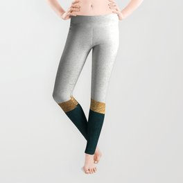 Deep Green, Gold and White Color Block Leggings