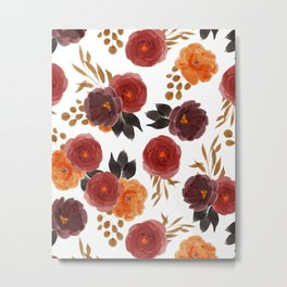 Red Orange Rose Watercolor Pattern Metal Print