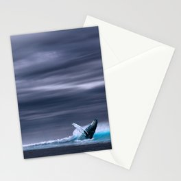 Whale in ocean night Stationery Cards