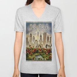 Vintage New York Central Park United Airlines Advertisement Poster Unisex V-Neck