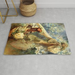 "Alphonse Mucha ""Madonna of the liles"" Rug"