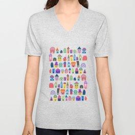 Colorful Neighbors Illustration (White) Unisex V-Neck