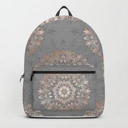 Rose Gold Gray Floral Mandala Backpack
