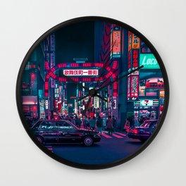 Cyberpunk Tokyo Street Wall Clock