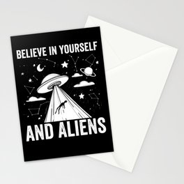 UFO believe in yourself and Aliens Stationery Cards
