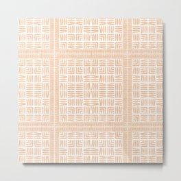 Nappy Faux Velvet Framed Weave in Pale Peach Metal Print