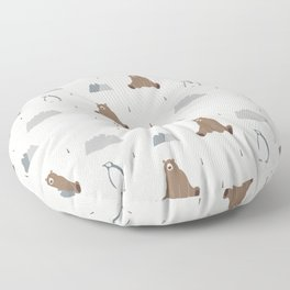 Polar Bear Penguin Christmas Pattern Floor Pillow