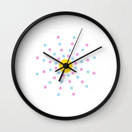Mandala 1- blue, pink and yellow Wall Clock