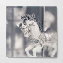 Vintage Carousel wood horse Metal Print