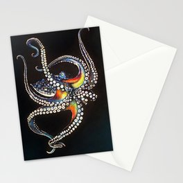 Octopus drawing, pastel pencil Stationery Cards