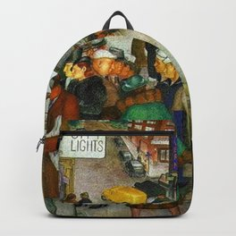Ferry to Oakland San Francisco City Street Scene portrait painting WPA mural Backpack