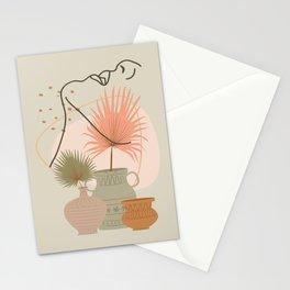 Palm leaf woman's neck line art print, boho woman face illustration, mid century modern, fashion art Stationery Cards