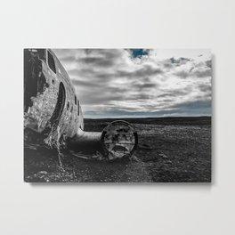 Crashed Airplane on Black Sands Beach Metal Print