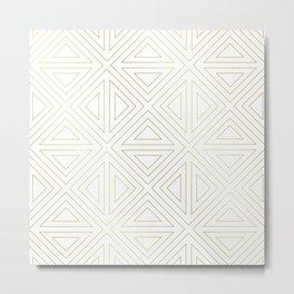 Angled White Gold Metal Print