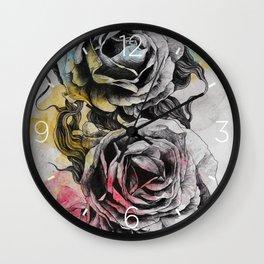 Floral Series: Rosa Chinensis (realistic roses drawing) Wall Clock