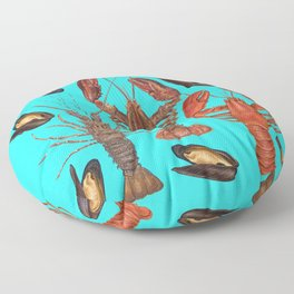 seafood lobsters and molluscs Floor Pillow