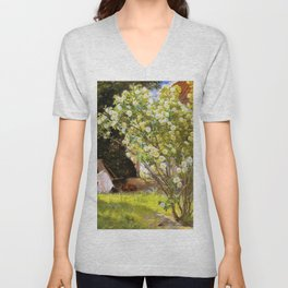 Roses. Marie Kroyer Seated In The Deckchair In The Garden By Mrs Bendsen's House 1893 Unisex V-Neck