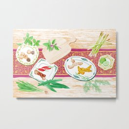 Watercolor Illustration of spices on plates placed on a wooden table Metal Print