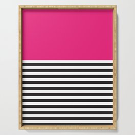 Hot Pink Magenta and Black and White Stripe Serving Tray