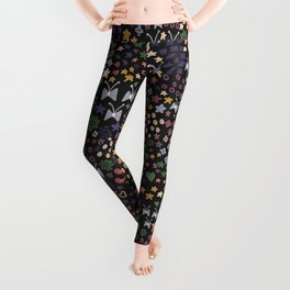 476-Small scale abstract flowers ditsy pattern Leggings