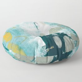 023.2: a vibrant abstract design in teal green and yellow by Alyssa Hamilton Art  Floor Pillow