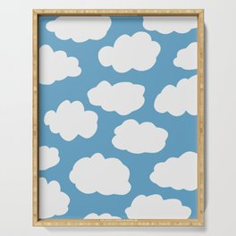 Blue Sky and Fluffy White Clouds Serving Tray