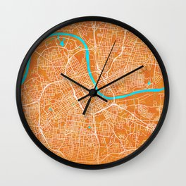 Nashville, TN, USA, Gold, Blue, City, Map Wall Clock