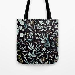 Black Eucalyptus Pattern Tote Bag