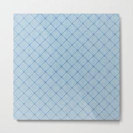 Faux Velvet Diamond Crisscross in Powder Blue Metal Print