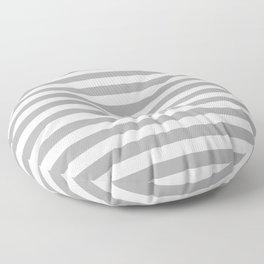 Grey and White Cabana Poolside horizontal Stripes | Cabana Floor Pillow