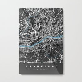 Frankfurt Map | Black & Blue | More Colors, Review My Collections Metal Print