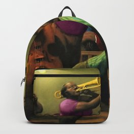 Tribute to 'Harlem Jazz' African American Harlem portrait painting Backpack