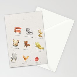 Post Modern Watercolor Chairs Stationery Cards