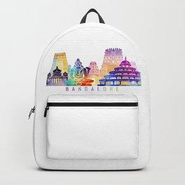 Bangalore skyline landmarks in watercolor Backpack