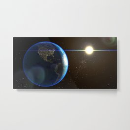 Night Lighted Earth from space Metal Print