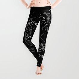 Buckminster Fuller 1961 Geodesic Structures Patent - White on Black Leggings
