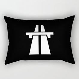 Freeway, Motorway, Autobahn - White on Black Rectangular Pillow