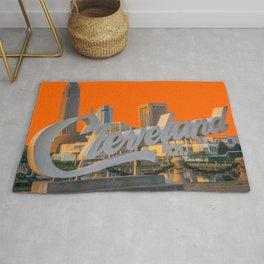 Cleveland Ohio City Skyline Home Fan OH Print Rug