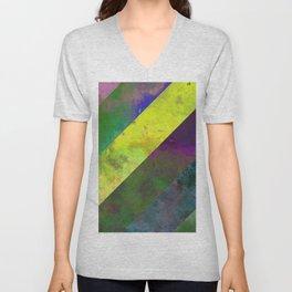 45 Degrees - Abstract, textured, diagonal stripes Unisex V-Neck