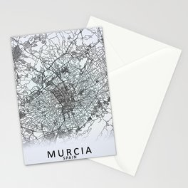 Murcia, Spain, White, City, Map Stationery Cards