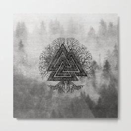 Valknut and Tree of Life Yggdrasil Metal Print