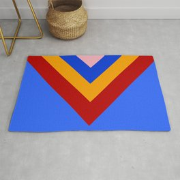 Cheer Arrows Red Yellow Blue Chevrons  Rug