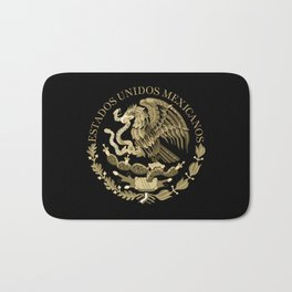 Mexican flag seal in sepia tones on black bg Badematte