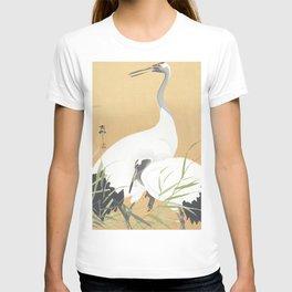Couple Of Cranes - Vintage Japanese Woodblock Print Art T-shirt