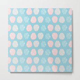 Pastel Brains Pattern Metal Print