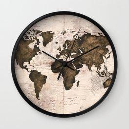 Coffee World Map Wall Clock